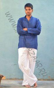 Синяя мужская рубашка из хлопка