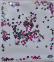 Звезды микс серебро, темно-серые, малиновые, сиреневые (3 мм)