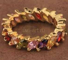 Элегантное позолоченное кольцо с разноцветными топазами