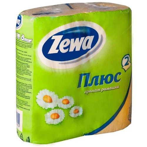 "Zewa туалетная бумага ""Плюс"" 2 слойная с ароматом ромашки, 4 шт"