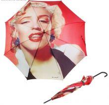 """Зонт женский """"Мэрлин Монро"""", полуавтомат, трость, d = 58, 8 карбоновых спиц, кожаная ручка"""