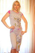 """Ночной костюм пижама """"Пчелка"""" серая Хлопок"""