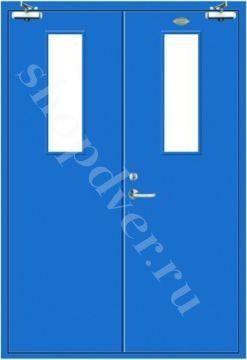 Металлические технические двери металл с 2-х сторон в порошковом напылении (двупольная) с стеклопакетом