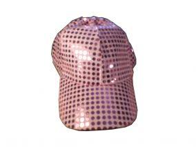 Блестящая яркая бейсболка розовая