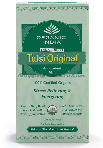Индийский зеленый чай с тулси Органик Индия без кофеина в пакетиках (Tulsi Original Tea Organic India)