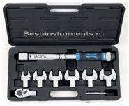 AQC-S002NM Динамометрический ключ с микрометром 15-80 Нм, в наборе со сменными насадками, 8 пр. Licota