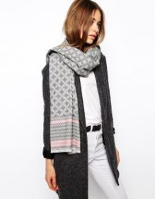 шарф серый шерстяной