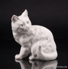 Кошка белая, сидит, Hutschenreuther, Германия, 1938-55 гг.