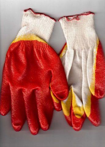 перчатки рабочие хб 13 класс с двойным латексным покрытием красные