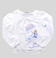 Белая трикотажная блуза с длинными рукавами