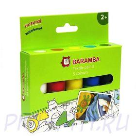 Baramba. Краски для рисования по ткани, тюбики 5 шт по 25 мл