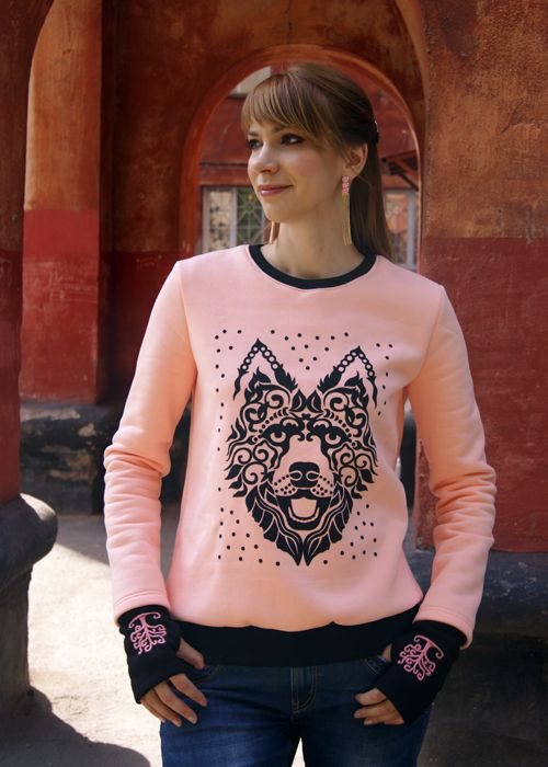 Розовый свитшот Хаски