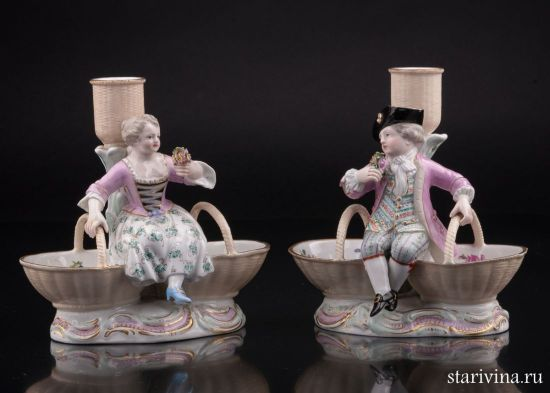 Изображение Подсвечники дети с корзинами, Meissen, Германия, кон. 19 в