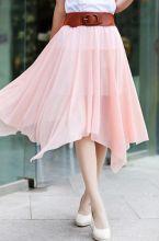 Юбка шифоновая с поясом (Розовая)
