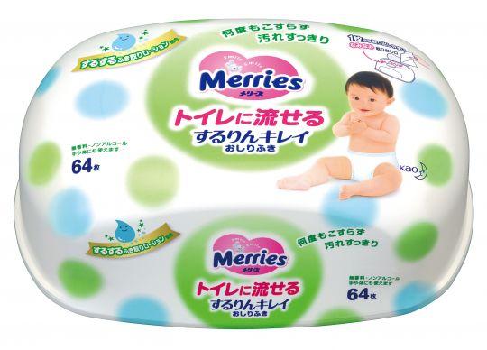 MERRIES Детские влажные салфетки Flushable, пластиковый контейнер 64 шт.
