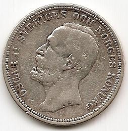Оскар II король Швеции и Норвегии  2 кроны Швеция 1897