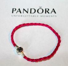 Кожаный браслет PANDORA Розовый
