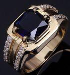 Позолоченное кольцо с сапфиром и цирконами