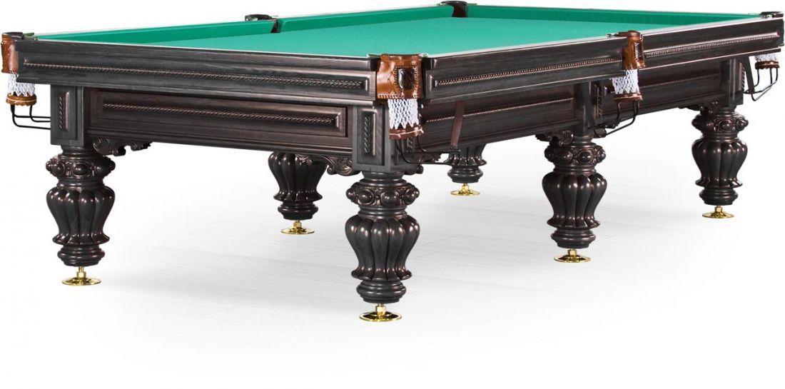 "Бильярдный стол / пирамида ""Turin"" 9 ф (черный орех, 6 ног, плита 38 мм)"