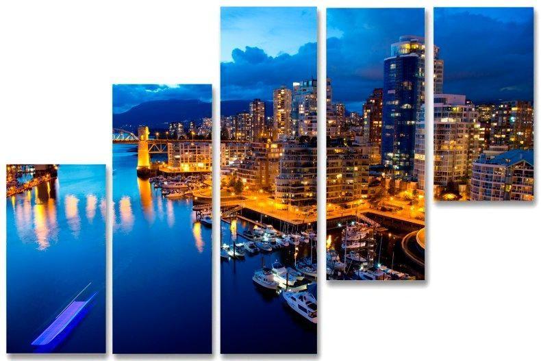 Модульная картина Город и вода