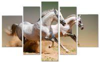 Модульная картина Белые лошади