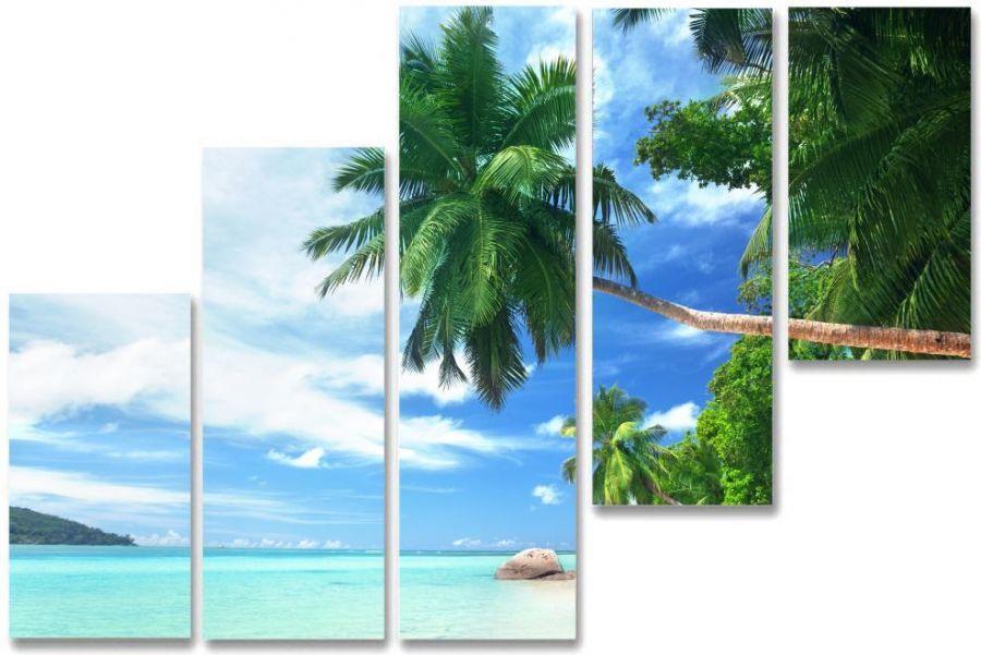Модульная картина Пальма на море