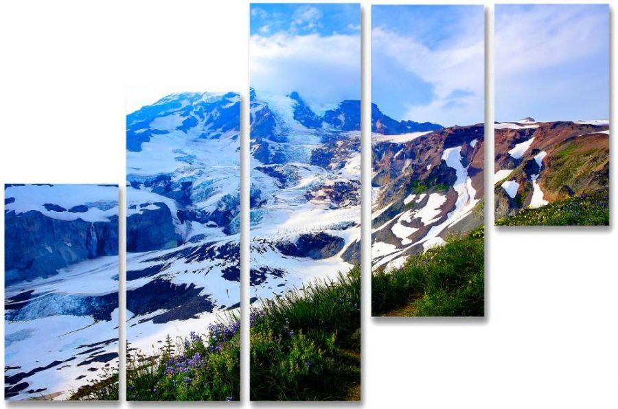 Модульная картина Снежный спуск
