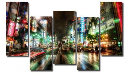 Модульная картина Ночная жизнь города