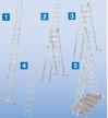 Универсальнаялестница - трансформер(приставная, раздвижная, стремянка с выдвижной секцией) KrauseSTABILOплюс с установкой на лестничных маршах 3х8 перекладин