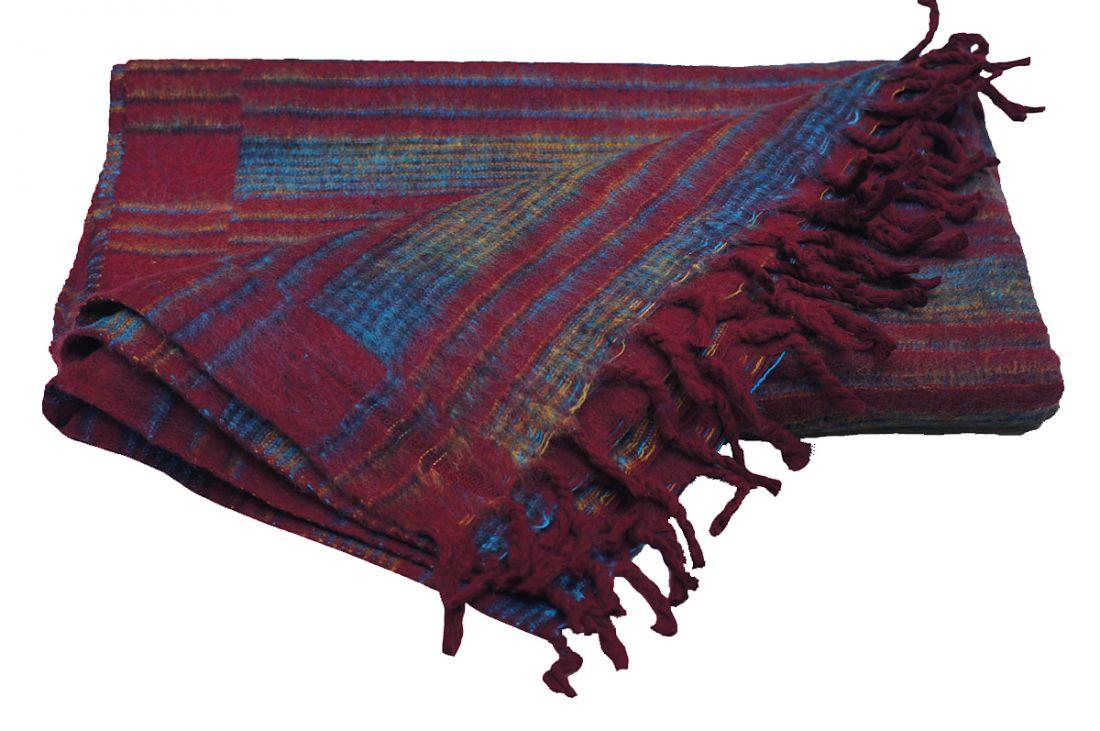 Бордовый плед из акриловой шерсти (отправка из Индии)