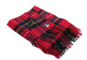 легкий шотландский плед , 100 % стопроцентная шотландская овечья шерсть, расцветка (тартан) Королевский клан Стюарт плед Стюарт Королевский STEWART ROYAL , плотность 6