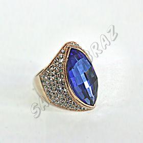 """Кольцо-перстень """"под золото"""" с синим кристаллом КО-077"""