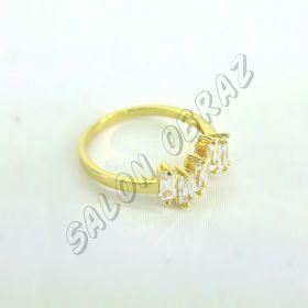 """Кольцо """"под золото"""" с прозрачным кристаллом КО-084"""