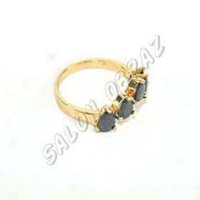 """Кольцо с чёрными  кристаллами """"под золото"""" КО-085"""