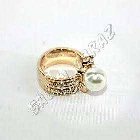 Кольцо с жемчугом и крупным кристаллом КО-074