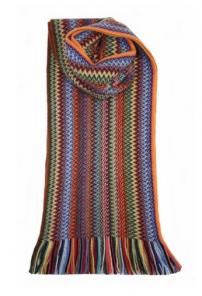 модный вязаный шотландский  шарф Zig Zag Rainbow Зигзаг Радуга, плотность 7