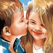 """Картина по номерам """"Детский поцелуй"""""""