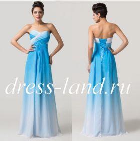 Голубое вечернее платье на шнуровке