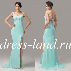 Бирюзовое вечернее платье с разрезом