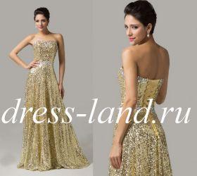 Золотое вечернее платье на шнуровке