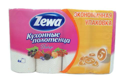 "Zewa полотенца кухонные ""Декор"" 2-х слойные, 4 шт"