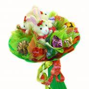 """Букет из игрушек и конфет №354 """"Новогоднее трио"""""""
