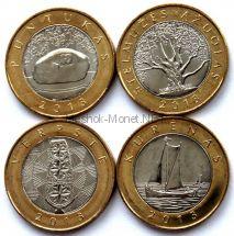 Набор из 4-х монет 2 лита 2013 курорты