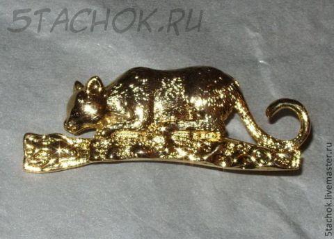 """Брошь """"Кошка и рыбка"""" под золото"""
