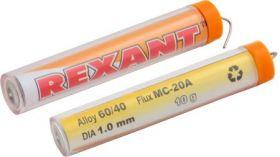Припой с канифолью 10 гр.d=1.0 мм (Sn60 Pb40 Flux 2.2%) REXANT