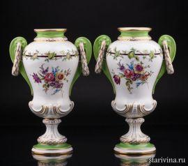 Две вазы, ручная роспись, Potschappel, Германия, нач. 20 века