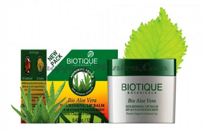 Солнцезащитный бальзам для губ Биотик Алое Вера SPF30 | Biotique Bio Aloe Vera Nourishing Lip Balm Spf 30
