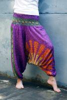 Индийские штаны алладины с павлинами, фиолетовые