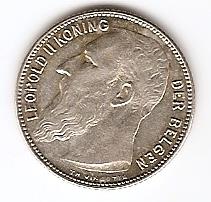1 франк Бельгия 1909 Der Belgen