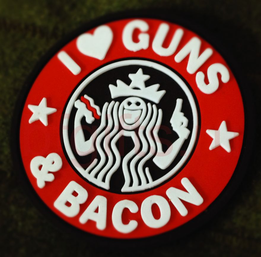 Патч I love guns & bacon ПВХ